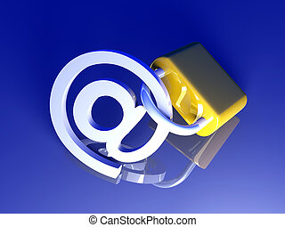 Secure Email - 3d rendered Illustration. Locked email.