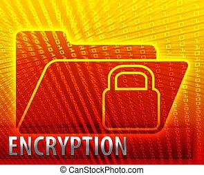 Secure date encryption locked information folder concept illustration