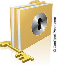 Secure file folder - Folder or file with a keyhole locked...