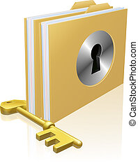 Folder or file with a keyhole locked with a key. Concept for privacy or data protection, or secure data storage etc.
