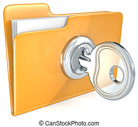 Secure files. - Folder with Key.