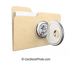 Secure files. - Manila file Folder with lock and Key. Brown...