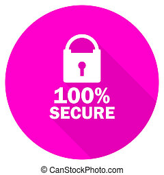 secure flat pink icon
