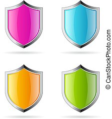 Secure glass shield vector icon