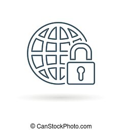 Secure globe icon white background