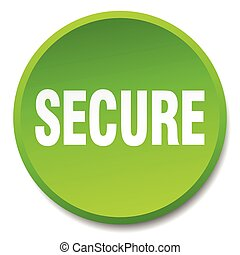 secure green round flat isolated push button