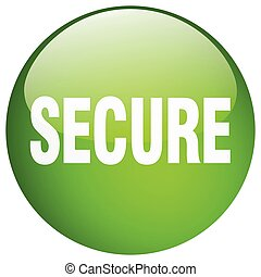 secure green round gel isolated push button