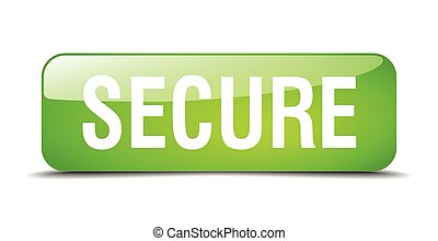 secure green square 3d realistic isolated web button