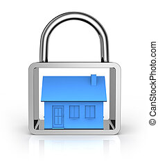 secure house concept - one house into a padlock (3d render)