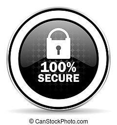 secure icon, black chrome button