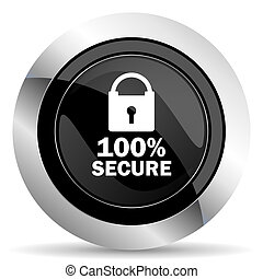 secure icon, black chrome button
