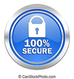 secure icon, blue button
