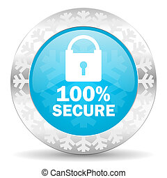 secure icon, christmas button