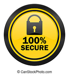secure icon, yellow logo,