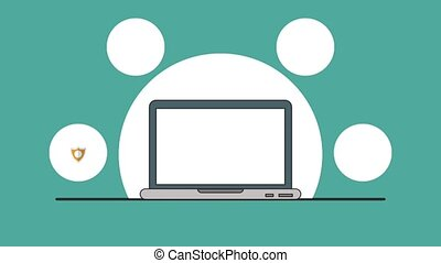 Secure laptop internet navigation HD animation