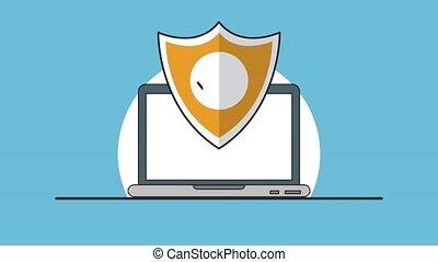 Secure laptop symbol HD animation