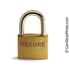 Secure Lock - Brass Security Padlock Closed and Isolated on...