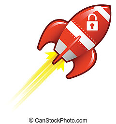 Secure lock icon on red retro rocket ship illustration