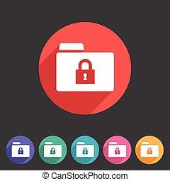 Secure locked folder icon flat web sign symbol logo label