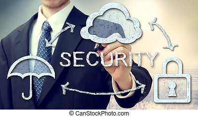 Secure online cloud computing concept with businessman