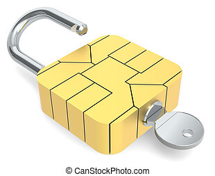 Secure online payment. - A Sim Card Chip made like a Padlock...