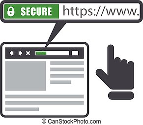 Secure online payment icon - green bar with ssl and browser