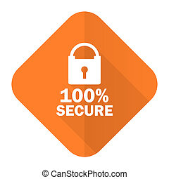 secure orange flat icon