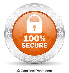 secure orange icon, christmas button