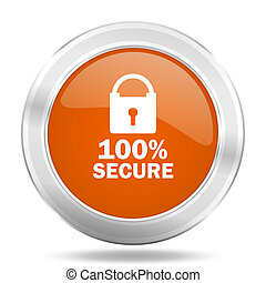 secure orange icon, metallic design internet button, web and mobile app illustration