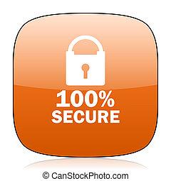 secure orange square web design glossy icon