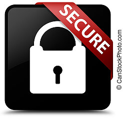 Secure (padlock icon) black square button red ribbon in corner