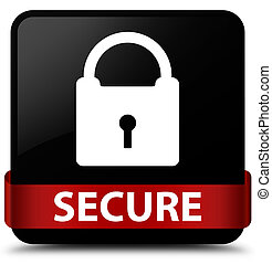 Secure (padlock icon) black square button red ribbon in middle