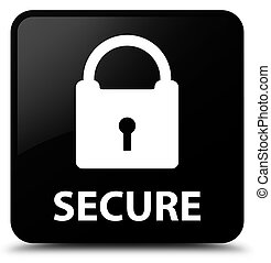 Secure (padlock icon) black square button