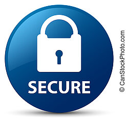 Secure (padlock icon) blue round button