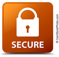 Secure (padlock icon) brown square button