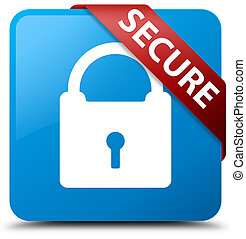 Secure (padlock icon) cyan blue square button red ribbon in corner