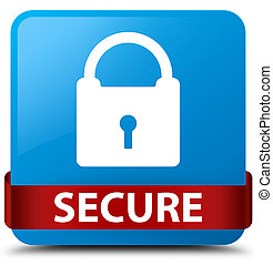 Secure (padlock icon) cyan blue square button red ribbon in middle