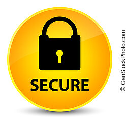 Secure (padlock icon) elegant yellow round button