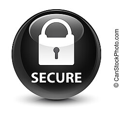 Secure (padlock icon) glassy black round button