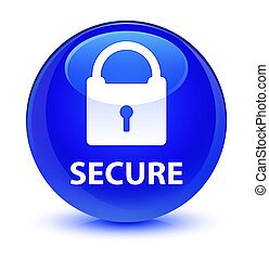 Secure (padlock icon) glassy blue round button