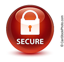 Secure (padlock icon) glassy brown round button