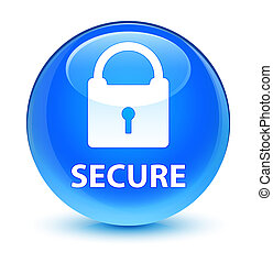 Secure (padlock icon) glassy cyan blue round button