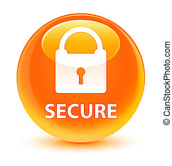 Secure (padlock icon) glassy orange round button