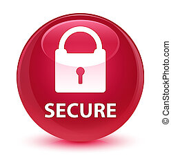 Secure (padlock icon) glassy pink round button