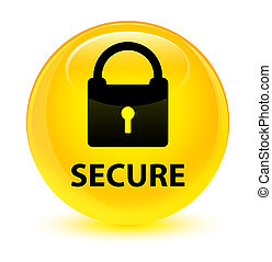 Secure (padlock icon) glassy yellow round button