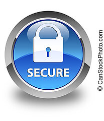 Secure (padlock icon) glossy blue round button