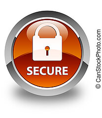 Secure (padlock icon) glossy brown round button