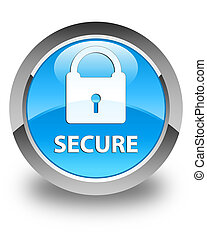 Secure (padlock icon) glossy cyan blue round button