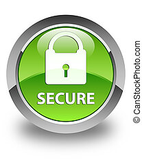 Secure (padlock icon) glossy green round button