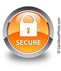 Secure (padlock icon) glossy orange round button